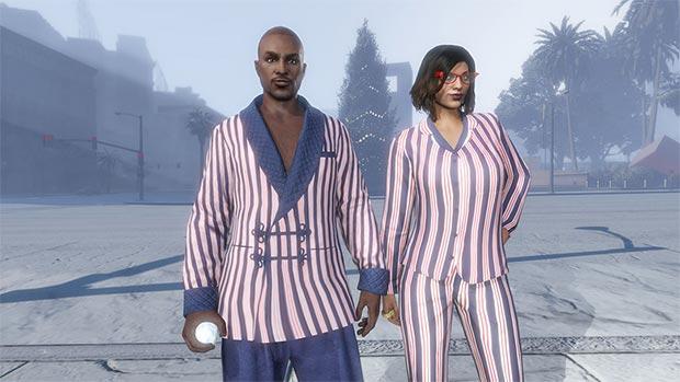 Il set di giacca smoking e pigiama a righe, disponibile gratuitamente in GTA Online fino al 2 gennaio