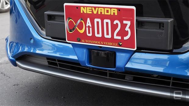 Uno dei sensori integrati nella Ioniq a guida autonoma di Hyundai