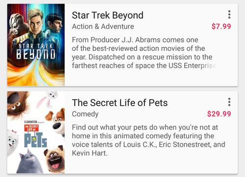 Alcune delle prime pellicole disponibili in formato 4K sulla piattaforma Google Play Film