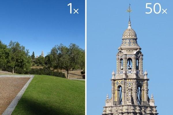 L'ingrandimento dello zoom 50x offerto dall'obiettivo integrato sulla fotocamera Sony Cyber-shot HX350