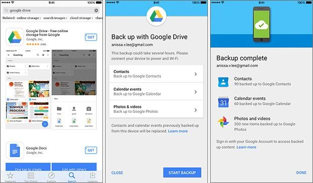 I tre step necessari per effettuare il backup dei contenuti dell'iPhone sulla piattaforma Google Drive, così da facilitare lo switch verso un dispositivo Android