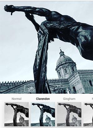 Alcuni dei filtri proposti da Instagram per la post-produzione delle immagini