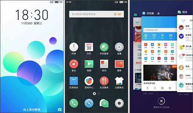 Screenshot dalla preview dell'interfaccia Flyme 6 di Meizu