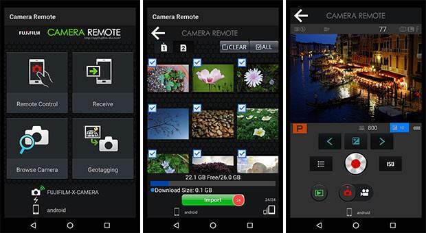 Screenshot per l'applicazione Fujifilm Camera Remote su smartphone Android