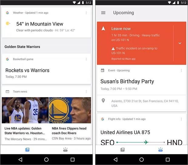 """A sinistra la sezione """"Feed"""" di Google Now, a destra quella chiamata """"Upcoming"""""""