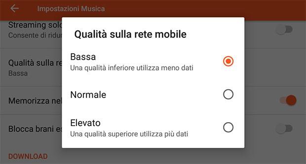 Le impostazioni per regolare la qualità dello streaming (al momento disponibili solo per quanto riguarda le reti mobile) di Google Play Musica