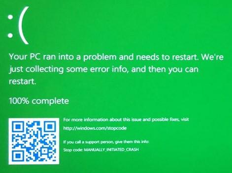 Il Green Screen of Death, che nelle prossime versioni di Windows 10 potrebbe sostituire il ben noto e temibile Blue Screen of Death
