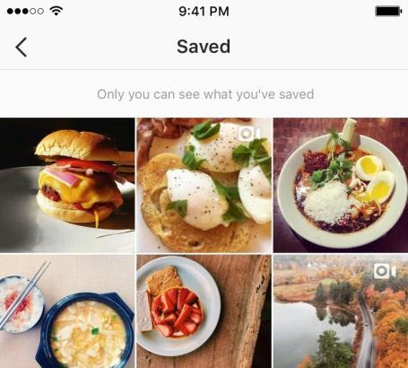 La schermata che raccoglie tutti i post di Instagram salvati