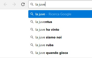 """Google Instant suggerisce di cercare informazioni a proposito del tema """"la juve ruba"""""""