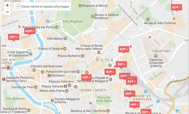 La mappa con i risultati della ricerca su Airbnb