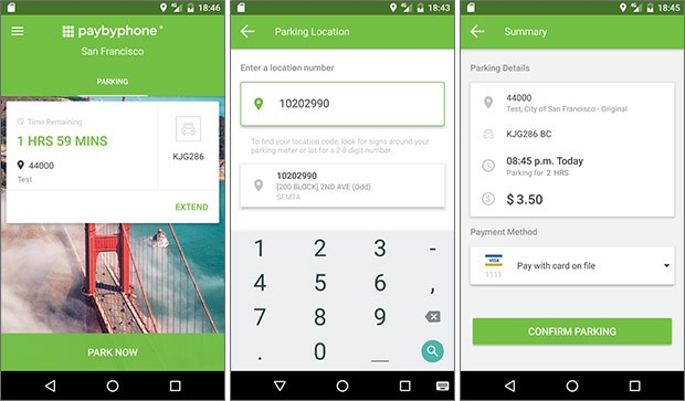 Screenshot per l'applicazione di PayByPhone su smartphone Android
