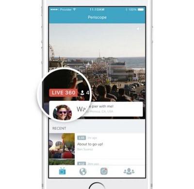 Il badge che contrassegna i video live a 360 gradi su Periscope