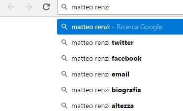 """I suggerimenti di Google Instant per la query """"matteo renzi"""""""