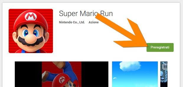 """Step 1: fare click sul pulsante """"Preregistrati"""" nella scheda di Super Mario Run su Play Store"""