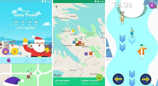 Screenshot per l'applicazione Segui Babbo Natale con Google su smartphone Android