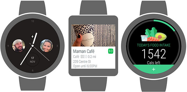 Tre delle applicazioni standalone che beneficeranno delle novità introdotte da Google nella versione 2.0 del sistema operativo Android Wear: Glide, Foursquare e Lifesum