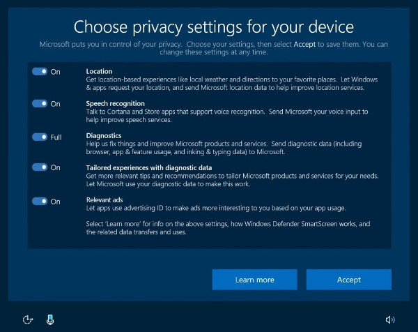 Windows 10 gestione privacy