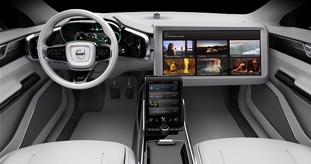 L'abitacolo di Concept 26, il più recente prototipo di vettura a guida autonoma realizzato da Volvo