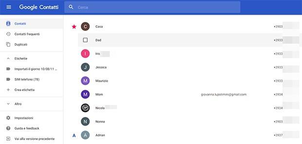 La nuova interfaccia della versione Web di Google Contatti, completamente rinnovata dal gruppo di Mountain View con un restyling che rispetta appieno le linee guida dettate dal Material Design