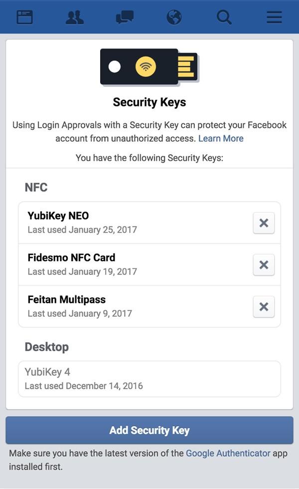 Facebook, autenticazione sicura con le chiavette
