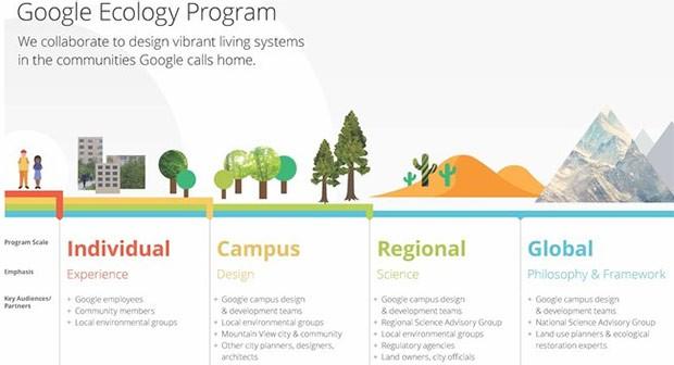 I diversi livelli di attuazione dell'Ecology Program messo in campo da Google