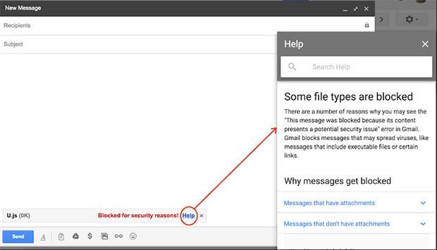 A partire dal 13 febbraio 2017, Gmail non permetterà di allegare file .js alle email, per ragioni legate alla sicurezza