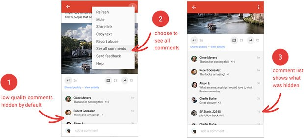 Il nuovo tool per nascondere automaticamente (o visualizzare tutti) i commenti di bassa qualità ai post