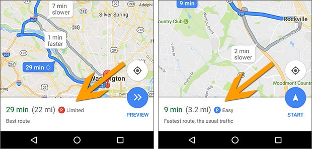 L'applicazione Google Maps, in versione Android, fornisce informazioni sulla possibilità di trovare parcheggio nei pressi della destinazione specificata