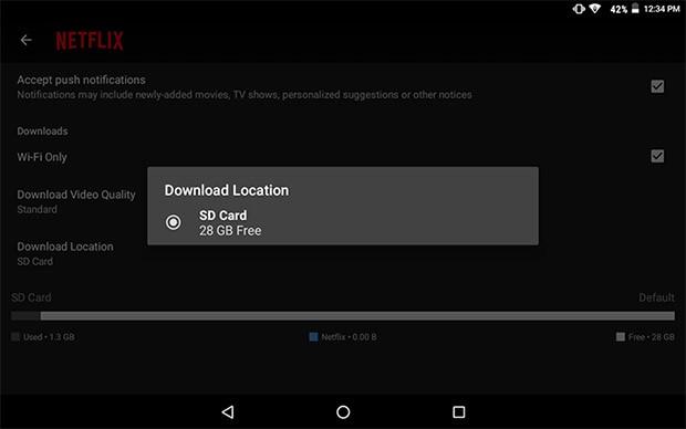 La nuova funzionalità introdotta da Netflix nella sua applicazione ufficiale per dispositivi Android, che permette di salvare i contenuti per la visione in modalità offline anche all'interno delle schede microSD
