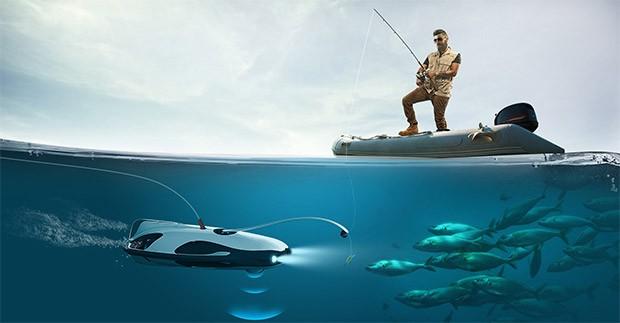 Il drone subacqueo PowerRay, con videocamera 4K, può essere utilizzato durante le sessioni di pesca per trovare i pesci e registrarne i movimenti