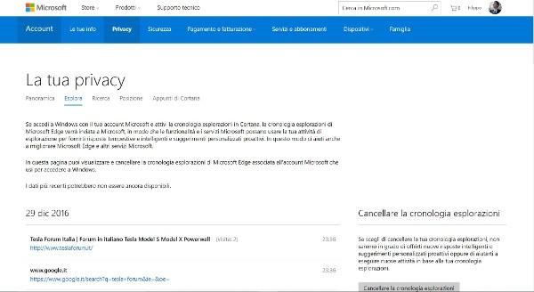 Windows 10 gestione privacy