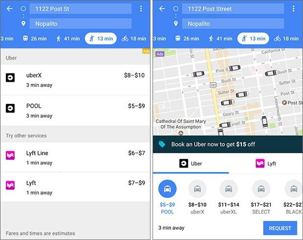 La vecchia interfaccia della schermata di Google Maps dedicata ai servizi di ride sharing (a sinistra) e quella ridisegnata introdotta con il nuovo aggiornamento (a destra)