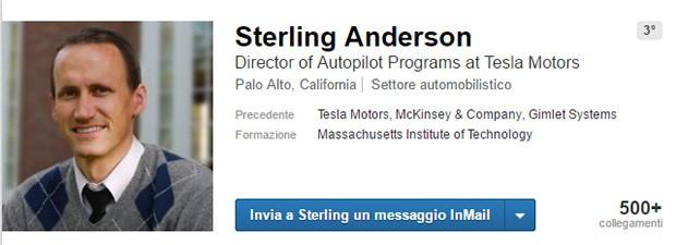 Il profilo LinkedIn di Sterling Anderson