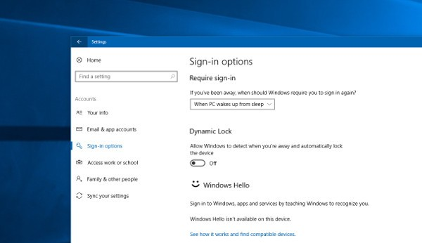 Windows 10, blocco PC sicuro con Dynamic Lock