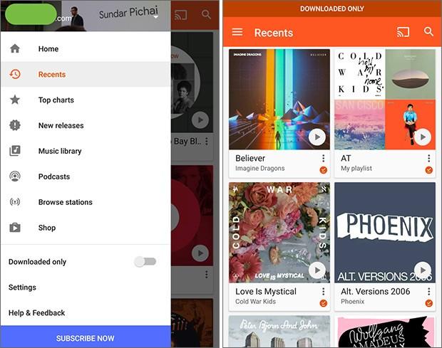 La nuova sezione Recenti, introdotta da Google nell'applicazione ufficiale del servizio Play Musica su Android
