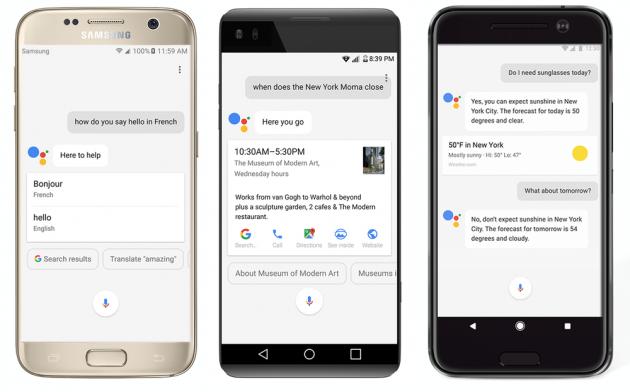 Google Assistant Samsung Galaxy S7, LG V20 e HTC 10