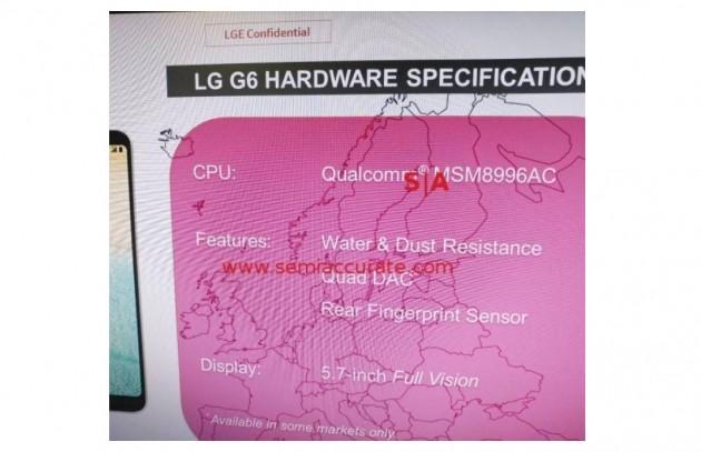 LG G6 spec leaked