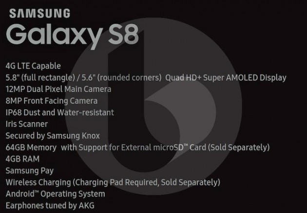 Samsung Galaxy S8 spec