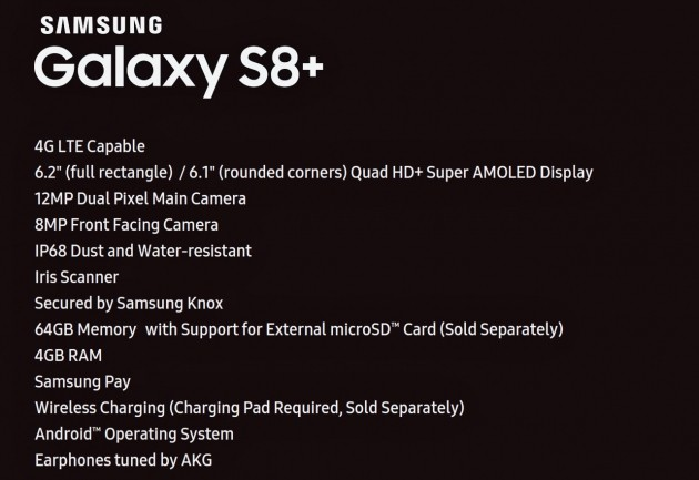 Samsung Galaxy S8+ spec