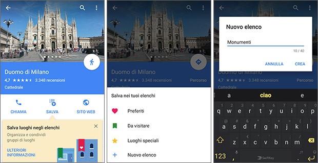 Screenshot per la nuova funzionalità di Google Maps che permette di creare e condividere elenchi con i luoghi preferiti dagli utenti