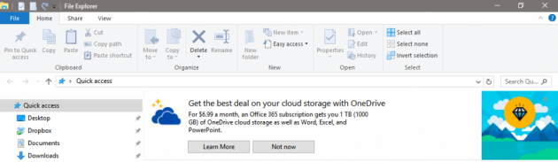 Windows 10 banner OneDrive