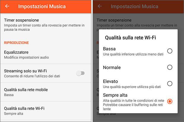 La nuova release 7.5.4518 dell'applicazione Play Musica per dispositivi Android permette di scegliere la qualità dello streaming su reti WiFi
