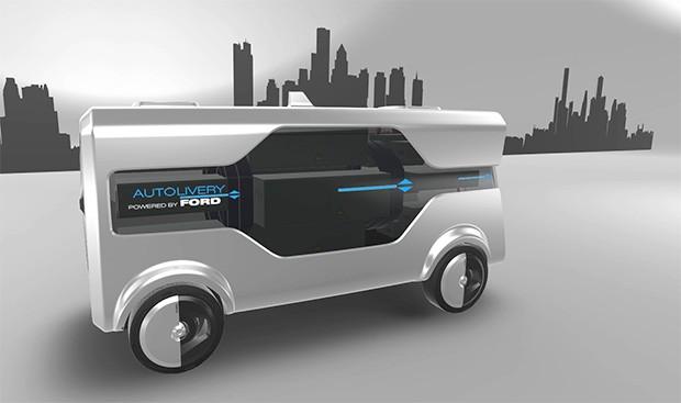 Il mezzo sperimentale Autolivery di Ford per la consegna della merce acquistata online, se necessario anche tramite l'impiego dei droni