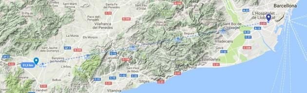 La distanza tra veicolo e guidatore supera i 50 km in linea d'aria. La mappa è disponibile qui