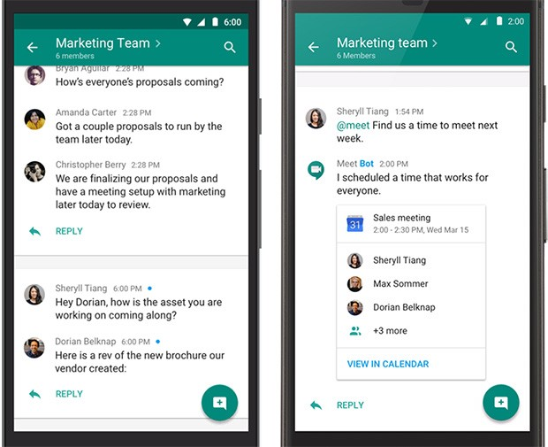Chat è la seconda applicazione nata dallo split di Hangouts, dedicata alla messaggistica istantanea