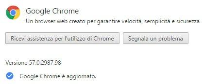 Il browser Chrome aggiornato alla versione 57.0.2987.98 su piattaforme desktop