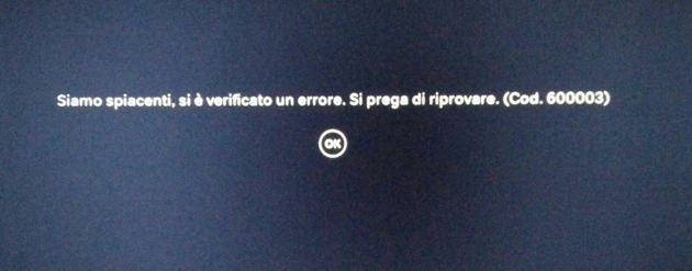 L'errore restituito da Now TV Box