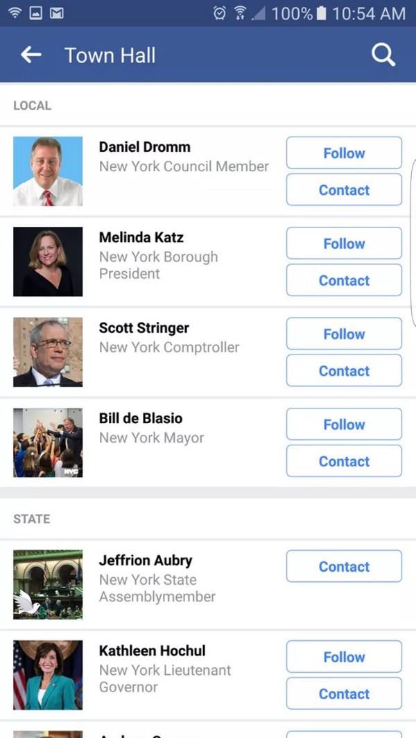 Facebook permette di contattare i politici locali