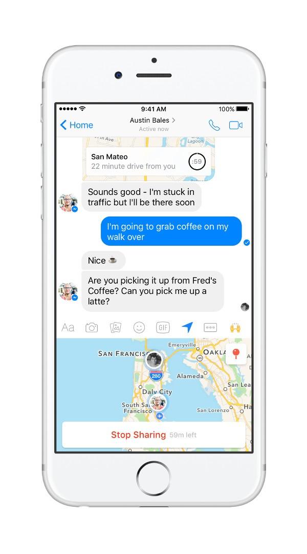 Facebook Messenger, la posizione si condivide live