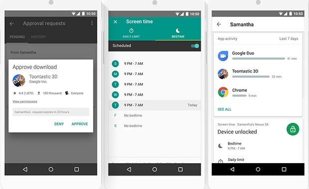 Screenshot per l'applicazione Family Link di Google